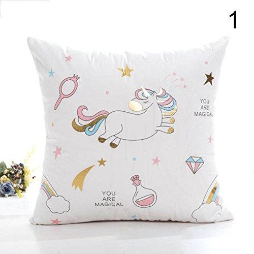 Hongch Cojín de unicornio de dibujos animados Funda de ...