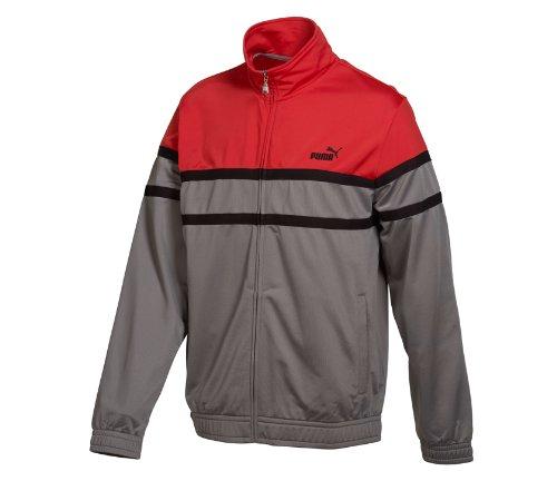 Puma Men's Agile Track Jacket Coat-Gray/Red-Large
