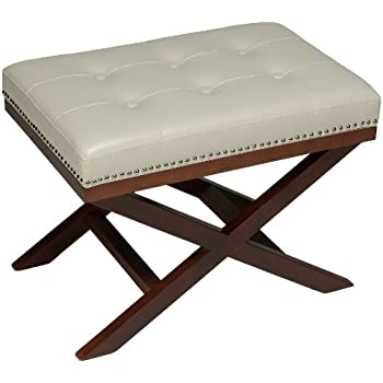 Cortesi Home Kayla Cream Traditional X-Bench Ottoman in Vinyl with Nailhead Trim