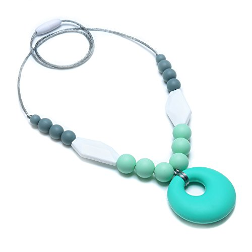 Price comparison product image Silicone Teething Necklace,  Nursing Baby Teething Beads,  Stylish Natural Necklace for Breastfeeding Moms to Wear and Baby Safe Chew Toy (Including Storage Bag)