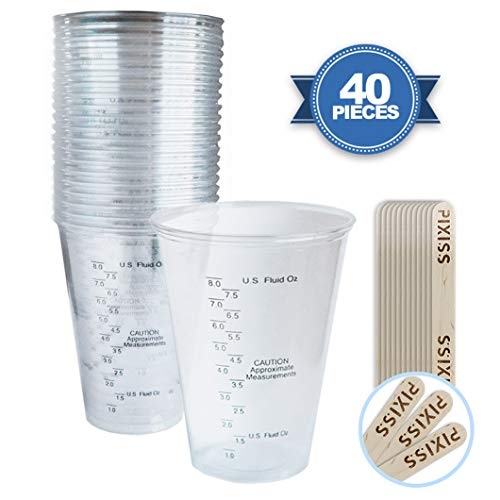 (Disposable Epoxy Resin Mixing Cups Clear Plastic 10-Ounce 20-Pack for Measuring Paint Epoxy Resin)