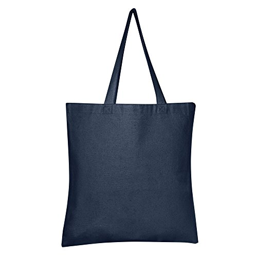 """BagzDepot 100% Durable Canvas Plain Tote Bags, 12oz Thick Reusable Grocery Tote Bags 15""""W x 16""""H (1, NAVY)"""