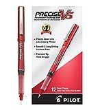 Pilot Precise V5 Stick Rolling Ball Pens, Extra Fine Point, Red Ink, Dozen Box -35336