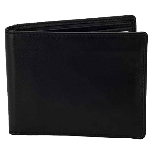 Italian Made Black Leather (DiLoro Italy Men's Slim Bifold Wallet Black Italian Genuine Full Grain Top Quality Nappa Leather Natural Handmade with Pocket and RFID Blocking 2402-BK)