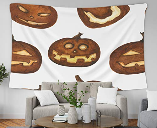 Jacrane Wall Hanging Tapestries with 80x60 Inches Watercolor Carved Pumpkin Scary Lanterns Pattern Halloween Horror Stylized White Easter Art Tapestry for Dorm Bedroom Living Room Home Decor -