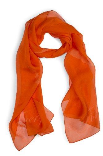 Layers Ladies Chiffon Silk Scarf - Fishers Finery Women's 100% Italian Silk Chiffon Luxury Accent Scarf (Orange)