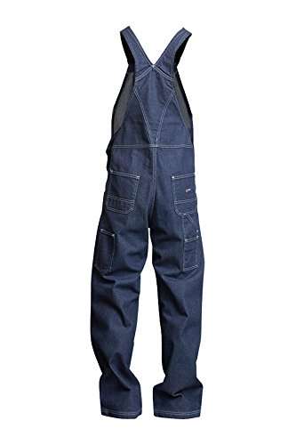 Lapco FR B13FRDN-LAR TL Flame Resistant Bib Overalls, 100% Cotton, HRC 2, NFPA 70E, 13 oz, Large Tall, Medium Denim Blue