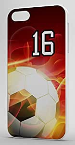 Flaming Soccer Sports Fan Player Number 16 White Rubber Decorative iPhone 6 PLUS Case