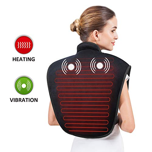 Heating Pad for Neck and Shoulders - Heat Wrap with Adjustable Heated Levels & Vibration Massage for Neck and Shoulder Back Pain Relief, Heating Pad with Auto Shut Off AL661