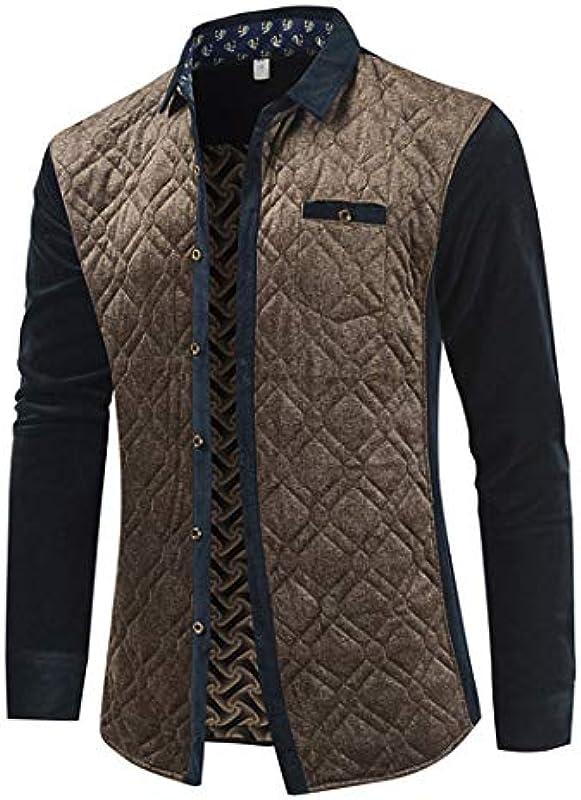 wkd-thvb męska ciepła koszula na jesień, zimę, gruba, średniowieczna koszula męska Slim Jacket Cardigan: Odzież