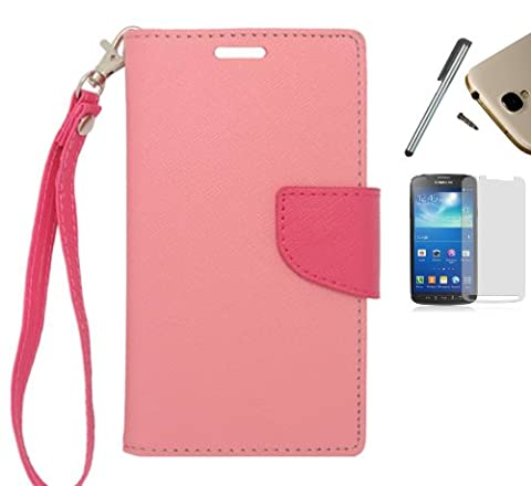 For LG Optimus Exceed 2 VS450PP / LG Optimus L70 MS323 / LG Realm LS620 / LG Pulse LS620Y / LG Ultimate 2 L41C (Verizon, Metro Pcs, Boost Mobile, Virgin Mobile, Trafone, Net10) PU Leather Flip Cover Folio Book Style Pouch Card Slot Myjacket Wallet Case + [WORLD ACC] TM Brand LCD Screen Protector + Silver Stylus Pen + Black Dust Cap Free Gift (Wallet Case Light Pink / Hot (Lg L41c Phone Case Wallet)