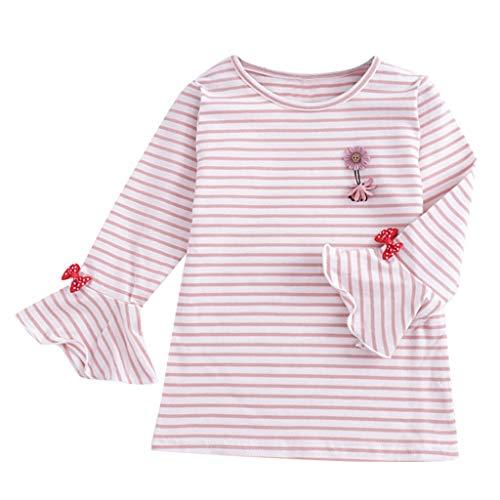Qpika Newborn Infant Baby Girl Striped Cartoon Tops Ruffles Base Shirt Blouse Clothes Summer 2019