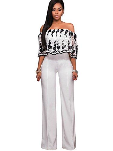 Clocolor Women's Off Shoulder Floral Printed Long Pants Jumpsuits Sexy Loose Long Wide Leg Jumpsuits Rompers