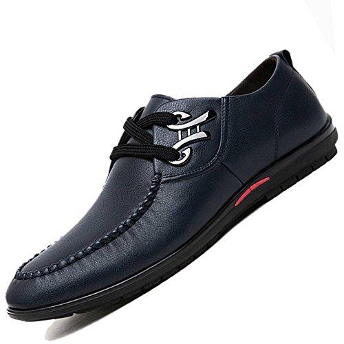 WKNBEU Moda Blu Primavera Estate Brown Black Uomo Low Top Casual Scarpe Derby Formali Scarpe Oxford Lace Commerciali Blue
