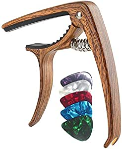 Guitar Capo, TERSELY Guitar Accessories Trigger Capo Clip with 5 Free Guitar Picks for Acoustic and Electric Guitars