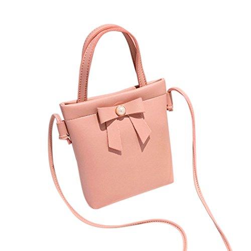 Shybuy Small Body Bags, Cute Bowknot Women Small Bags Slim Crossbody Fashion Shoulder Tote Bags (Pink)