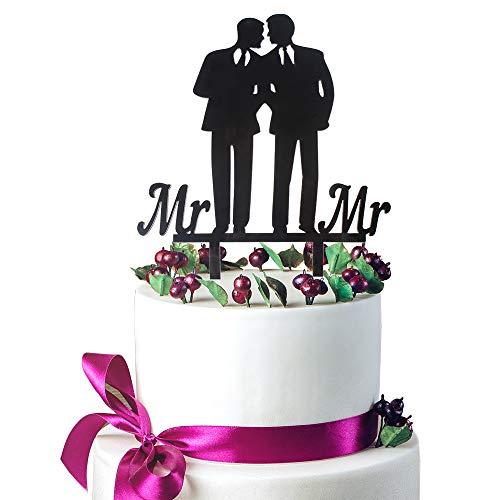 (Mr & Mr Gay Couple Black Acrylic Cake Topper Bowties Same Sex Silhouette Wedding Birthday Keepsake Gifts Decoration.)