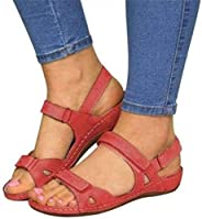 Women's Orthopedic Open Toe Leather Sandals,Large Size Premium Comfy Hook and Loop Closure Sport Sandal,Ca