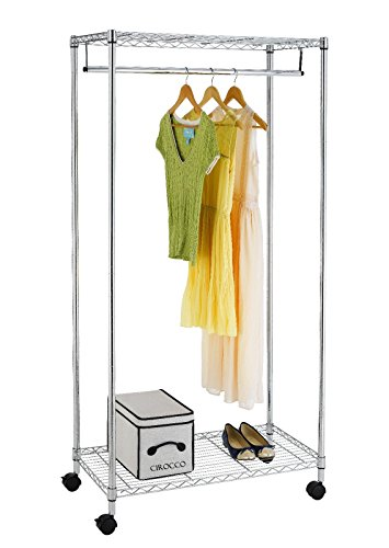 - Cirocco 2 Tier Free Standing Rolling Closet Organizer Silver – 18