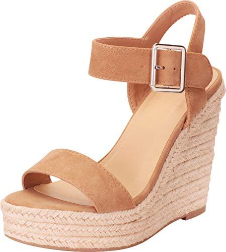 Cambridge Select Women's Open Toe Buckled Ankle Strap Espadrille Platform Wedge Sandal,7.5 B(M) US,Camel NBPU -