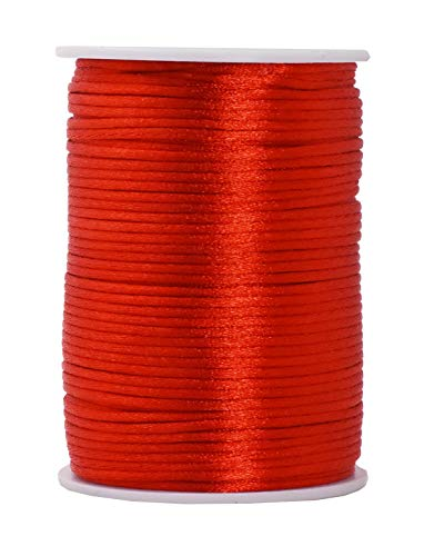Mandala Crafts Satin Rattail Cord String from Nylon for Chinese Knot, Macramé, Trim, Jewelry Making (Red, 2mm 100 Yards)