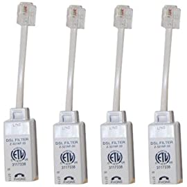 Actiontec Universally Compatible Inline DSL Phone Filters - 4 Pack (FLTR4DSL02),White 7 These filters are distributed by Actiontec and are tested to ensure compatibility with Actiontec products Eliminates interference between landline phone and DSL modem equipment Simply click into your phone jack