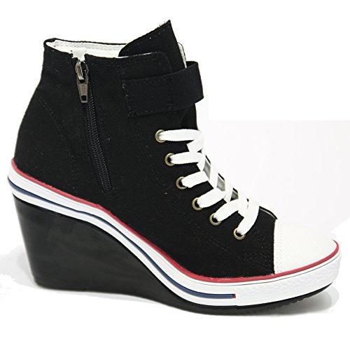 Womens Black Canvas Buckle Wedge Sneakers Zip High Top Trainers