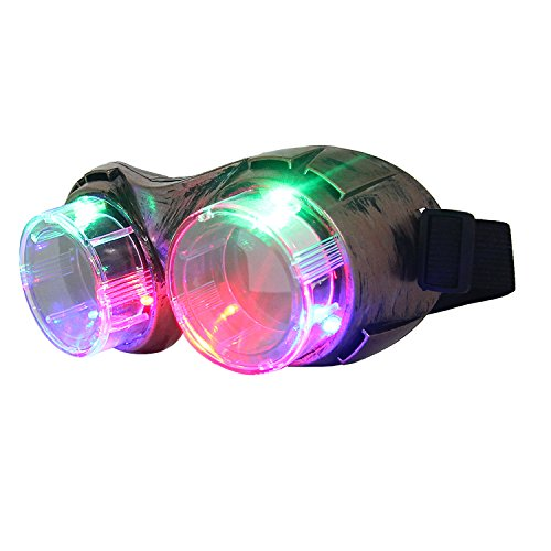 DAXIN DX LED Retro Goggles Light Up Party Favors Glasses Toys 3 Lights 4 Modes for Men Women Kids Bronze