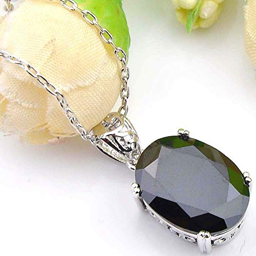 - Chockdeemeechai Silver Huge Oval Shaped Black Onyx Agate Gemstone Necklace Pendant 1 Inch