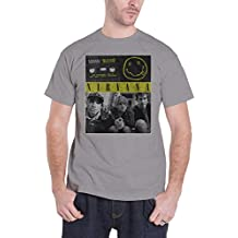 Nirvana T Shirt Bleach Tape Photo Band Logo Official Mens Grey