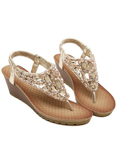 Vogstyle Mujeres Sandalias Verano Estilo Étnico Playa Zapatos Bohemio Sandalias Punta Abierta Deslizadores Verano Boho Chic Zapatillas ZMY002 Estilo 6 oro