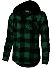 Mens Casual Shirt Hoodie Flannel Check Patterned Long Sleeve with Front Pockets