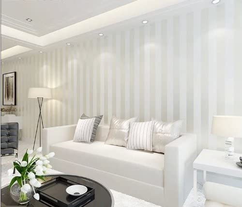10m White Color Modern Minimalist Living Room Bedroom Tv Backdrop Wallpaper Stripe Flocking Non Woven Wall Paper Roll Amazon Com