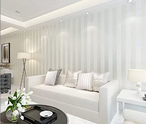. 10m Off white Color Modern Minimalist Living Room Bedroom Tv Backdrop  Wallpaper Stripe Flocking Non woven Wall Paper Roll