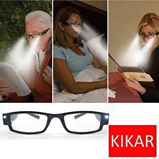 KIKAR LED Reading Glasses (Strength +3.0) with Case