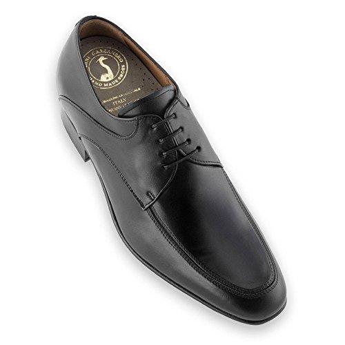 Masaltos Scarpe con Rialzo da Uomo Che Aumentano l'Altezza Fino a 7 cm. Fabbricate in Pelle. Modello Sheffield Nero