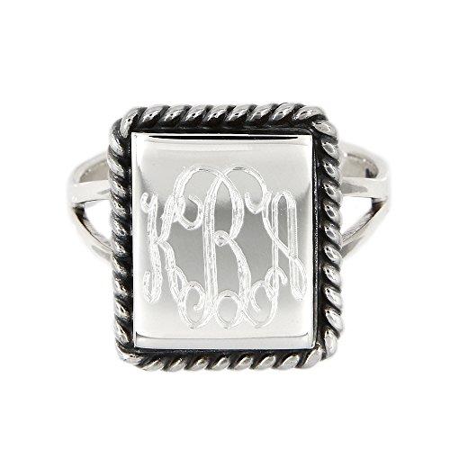 Sterling Silver Monogram Engravable Raised Large Rectangular Shape Signet Ring (6) (Shape Ring Rectangular)