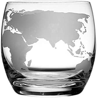 BECCYYLY Whiskey Glasses Whiskey Glass Etched Globe Glass For Vodka Rum Scotch Glass World Map Rocks Glass For Gifts