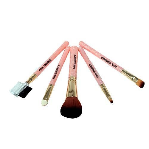 Pink Shimmer Makeup Brushes   Set of 5