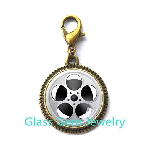 New Design Film Reel Charming Zipper Pull Film Reel Charming Zipper Pulls Charm Movie Charming Zipper Pull Zipper Pull Movies Film Theatre jewelry statement Zipper (Reel Charm)