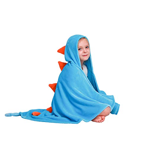 (Dinosaur Hooded Blanket for Kids, 3D Toddler Wearable Animal Snuggie Throw, Soft Flannel Fleece Fabric, Great Gifts for Children, Fit 2-8 Years Old, 47