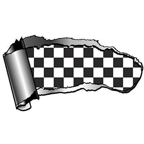 Sticker pour voiture Drapeau à damier Design usé/arraché Effet métal Noir/blanc 140x 75mm