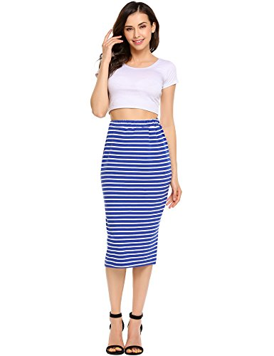 ANGVNS Striped Stretch Elastic Waist Knee Length Cotton Pencil Skirt (Skirt Pencil Length Waist Knee)