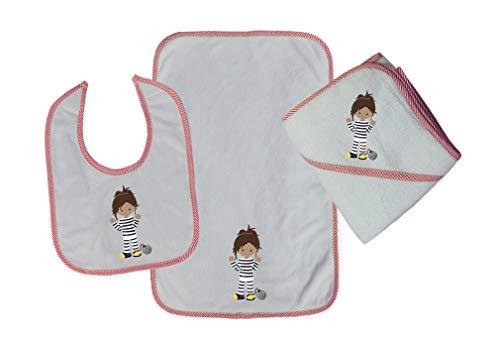 Prisoners Girl B Cotton Boys-Girls Baby Bib-Burb-Towel Set - Red, One Size