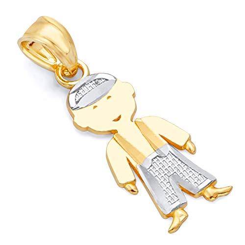 Gold Little Boy Charm - 14k Two Tone Gold Boy Charm Pendant