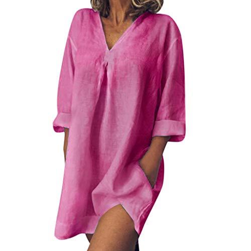 Women's Summer Floral Dresses Sleeveless V- Neck Casual Long Maxi Dress HebeTop Hot Pink