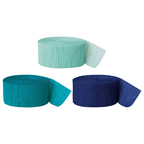 Andaz Press Crepe Paper Streamer Hanging Party Decorations Kit, 240-Feet, Diamond Blue Mint, Aqua Teal, Navy Blue, 1-Pack, 3-Rolls, Mermaid Colored Wedding Baby Bridal Shower Birthday Supplies (Party Crepe Streamer)