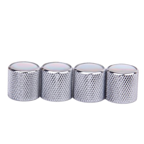 4pcs Volume Tone Control Knob for Electric Guitar - Silver with Pearl White Top Generic STK0115009710
