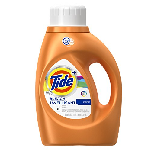 Tide Plus Bleach Alternative Original Scent High Efficiency Liquid Laundry Detergent, 46 Fl Oz (Pack of 2) - Bleach Liquid Laundry Detergent