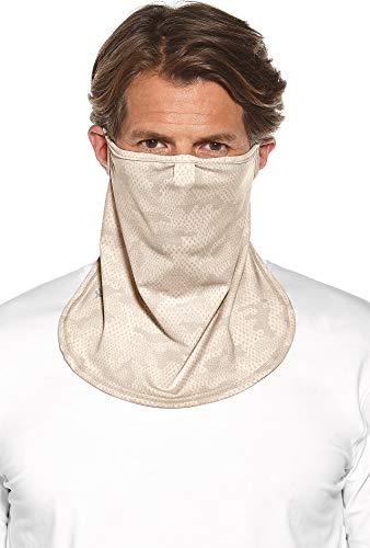Coolibar UPF 50+ Unisex UV Face Mask - Sun Protective (Large/X-Large- Tan Coolibar Camo)